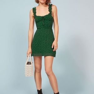 Reformation Hilton Dress Polka Dot Green Size 2